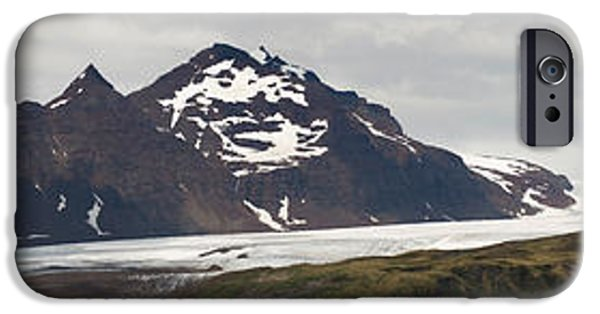 Snow Scene iPhone Cases - Bay In Front Of Snow Covered Mountains iPhone Case by Panoramic Images