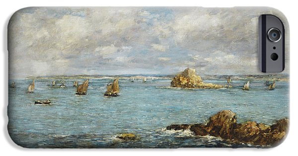 Water Vessels Paintings iPhone Cases - Bay of Douarnenez iPhone Case by Eugene Louis Boudin