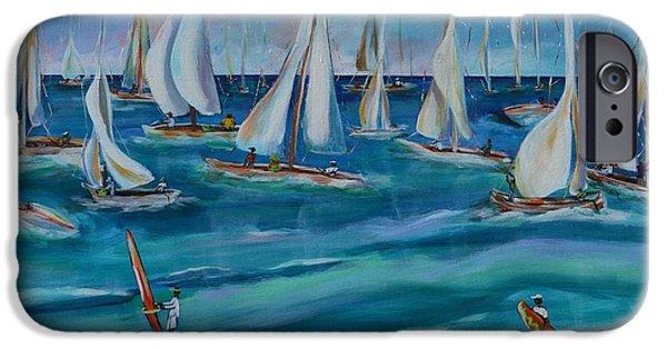 Sailboat Ocean iPhone Cases - Bay Regatta iPhone Case by Lynn Rattray