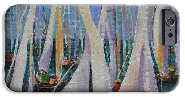 Sailboat Ocean iPhone Cases - Bay Sails 2 iPhone Case by Lynn Rattray