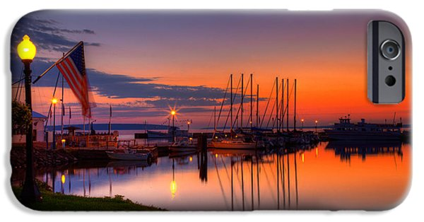 Sailboat iPhone Cases - Bayfield Wisconsin Fire in the sky over the harbor iPhone Case by Wayne Moran