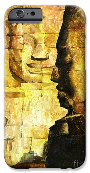 Bodhisattva iPhone Cases - Bayon Khmer temple at Angkor Wat Cambodia iPhone Case by Ryan Fox