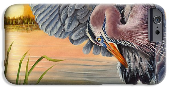 Fauna iPhone Cases - Bayou Blues iPhone Case by Phyllis Beiser