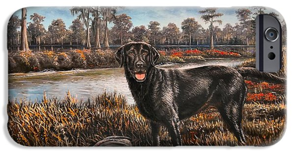 Black Dog iPhone Cases - Bayou Proud iPhone Case by Mike Roberts