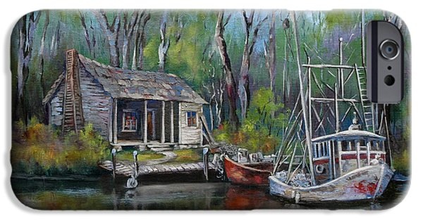 Sunset Paintings iPhone Cases - Bayou Shrimper iPhone Case by Dianne Parks