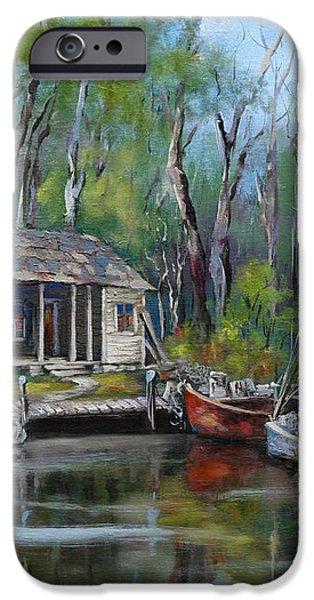 Bayou Shrimper iPhone Case by Dianne Parks