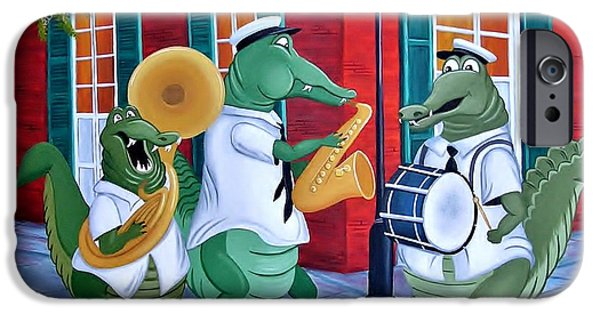 Mardi Gras Paintings iPhone Cases - Bayou Street Band iPhone Case by Valerie Carpenter