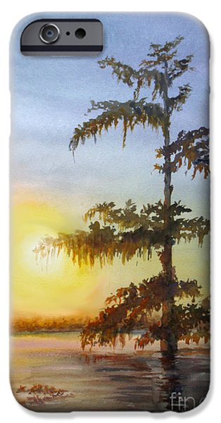 Eerie Paintings iPhone Cases - Bayou Sundown Louisiana iPhone Case by Mohamed Hirji