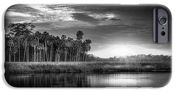 Floods Photographs iPhone Cases - Bayou Sunset-b/w iPhone Case by Marvin Spates