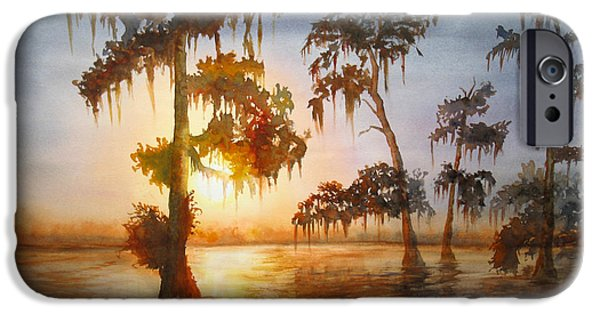 Alga Paintings iPhone Cases - Bayou Sunset iPhone Case by Mohamed Hirji