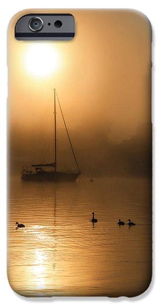 Docked Sailboat iPhone Cases - Bayside Sunrise 1 iPhone Case by Lori Deiter