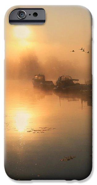 Docked Sailboat iPhone Cases - Bayside Sunrise 2 iPhone Case by Lori Deiter