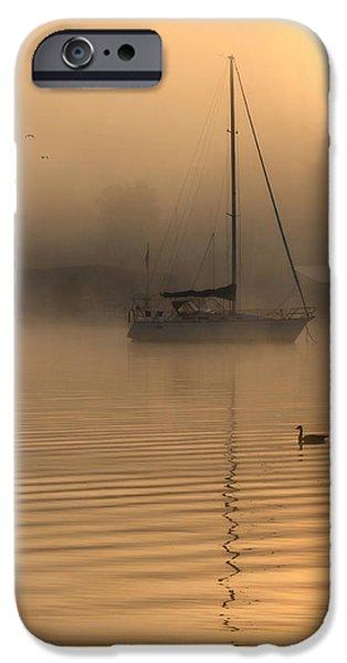 Docked Sailboat iPhone Cases - Bayside Sunrise 4 iPhone Case by Lori Deiter