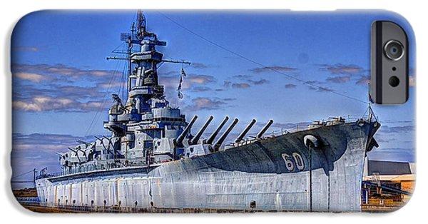 War iPhone Cases - BB-60 USS Alabama iPhone Case by Barry Jones