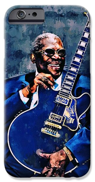 Digital Designs iPhone Cases - B.B. King iPhone Case by Scott wallace