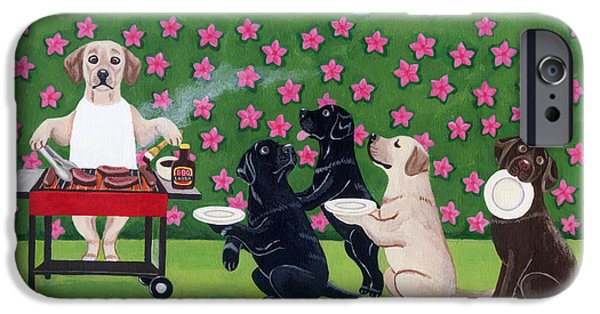 Recently Sold -  - Chocolate Lab iPhone Cases - BBQ Party Labradors in the Azalea Garden iPhone Case by Naomi Ochiai