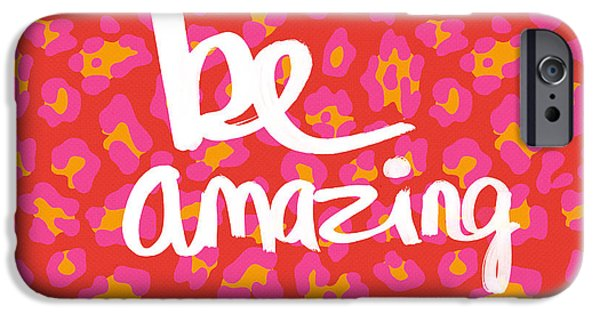 Shower iPhone Cases - Be Amazing - pink leopard iPhone Case by Linda Woods