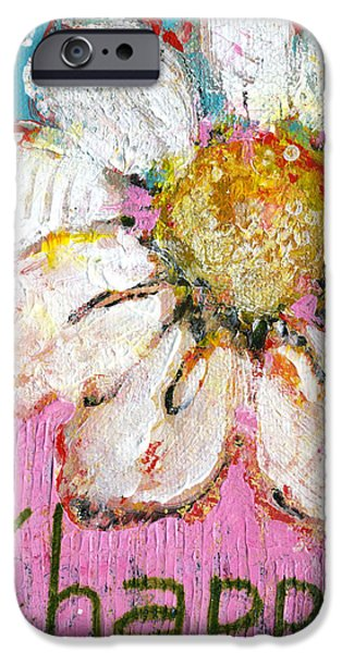 Be Happy Daisy Flower Painting iPhone Case by Blenda Studio