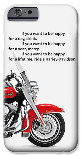 Motorcycle iPhone Cases - Be Happy Phone Case iPhone Case by Mark Rogan