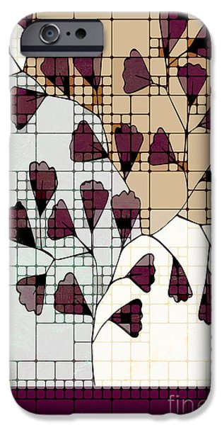 Red Leaf Digital Art iPhone Cases - Be-Leaf - Prune 01-ab103b iPhone Case by Variance Collections