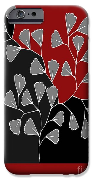 Red Leaf Digital Art iPhone Cases - Be-Leaf - rb01btfr2 iPhone Case by Variance Collections