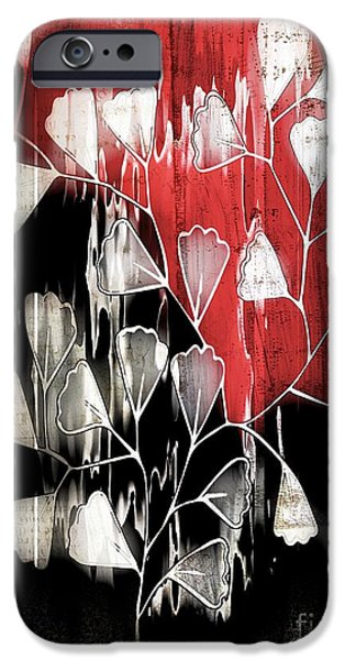 Red Leaf Digital Art iPhone Cases - Be-Leaf - Red Black a05bt3a iPhone Case by Variance Collections