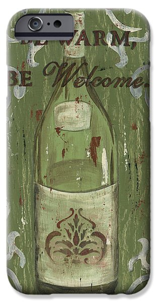 Wine Bottles Paintings iPhone Cases - Be Our Guest iPhone Case by Debbie DeWitt