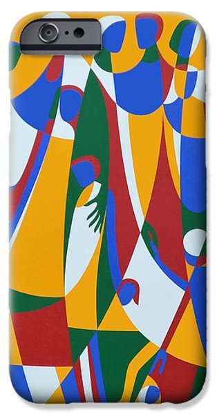 Figures iPhone Cases - Be Patterns, Be Examples, 1998 Acrylic On Board iPhone Case by Ron Waddams