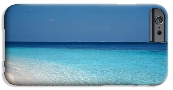 Sailboat Ocean iPhone Cases - Beach & Boat Scene The Maldives iPhone Case by Panoramic Images