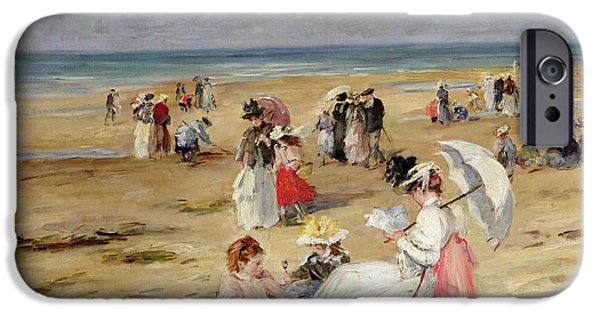 Seaside iPhone Cases - Beach at Courseulles iPhone Case by Henri Michel-Levy