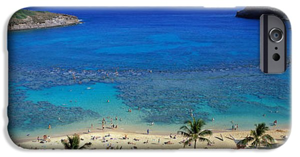 Beach Towel iPhone Cases - Beach At Hanauma Bay Oahu Hawaii Usa iPhone Case by Panoramic Images