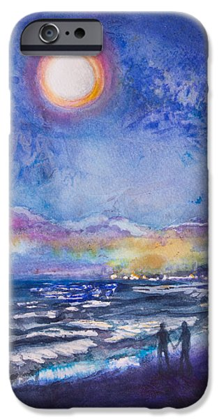 Beach At Night iPhone Cases - Beach at Night iPhone Case by Patricia Allingham Carlson