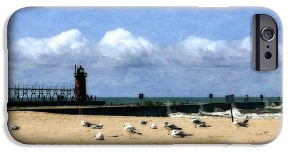 Michelle iPhone Cases - Beach at South Haven  iPhone Case by Michelle Calkins
