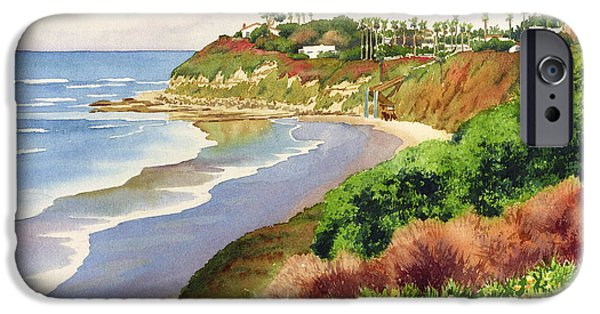 Horizon Paintings iPhone Cases - Beach at Swamis Encinitas iPhone Case by Mary Helmreich