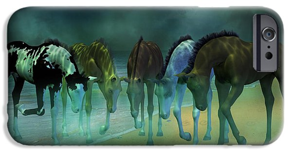 Sea Moon Full Moon Mixed Media iPhone Cases - Beach Babies iPhone Case by Betsy A  Cutler