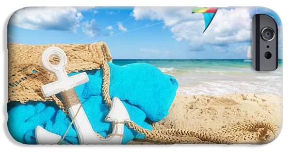 Beach Towel iPhone Cases - Beach Bag iPhone Case by Amanda And Christopher Elwell