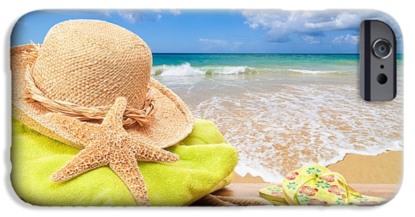 Concept Photographs iPhone Cases - Beach Bag With Sun Hat iPhone Case by Amanda And Christopher Elwell