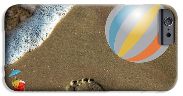 Multimedia iPhone Cases - Beach ball and Cooler iPhone Case by Tina M Wenger