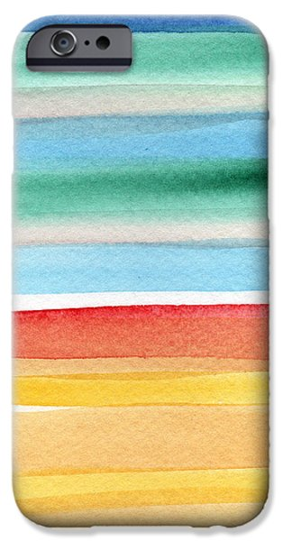 Beach iPhone Cases - Beach Blanket- colorful abstract painting iPhone Case by Linda Woods