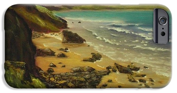 Beach Landscape Pastels iPhone Cases - Beach Blues iPhone Case by Pastel Art By Taylor