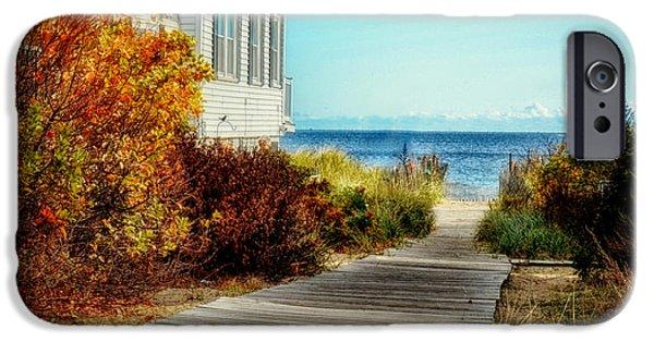 Cabin Window iPhone Cases - Beach Boardwalk 1 iPhone Case by Tricia Marchlik