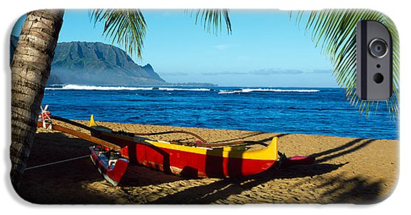 Grey Clouds iPhone Cases - Beach Boat Hanalei Bay Kauai Hi Usa iPhone Case by Panoramic Images