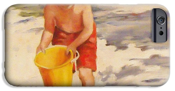 Sand Castles iPhone Cases - Beach Boy iPhone Case by Mary Hubley