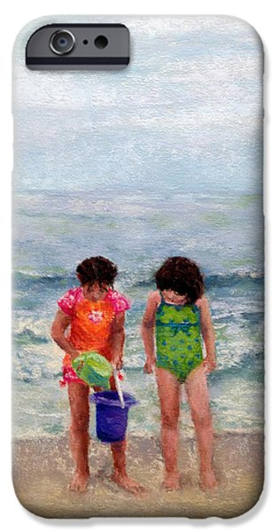 Sand Castles Pastels iPhone Cases - Beach Buddies iPhone Case by Stacey David