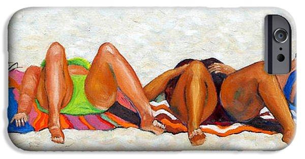 Beach Towel iPhone Cases - Beach Bunnies Art By Betty Cummings iPhone Case by Sharon Cummings