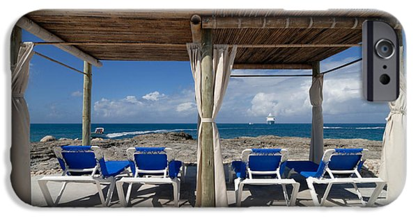 Private Island iPhone Cases - Beach Cabana with Lounge Chairs iPhone Case by Amy Cicconi