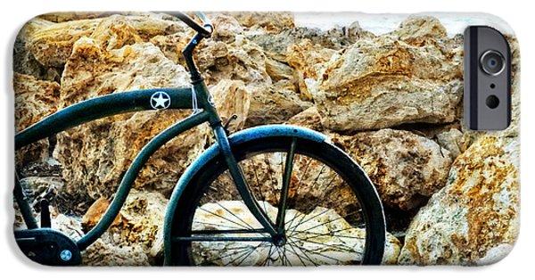 Cruiser iPhone Cases - Beach Cruiser - Bicycle Art By Sharon Cummings iPhone Case by Sharon Cummings