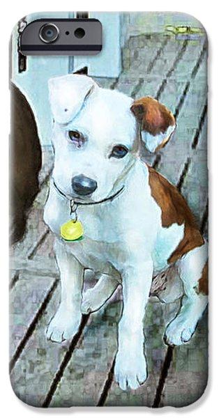 Puppy Digital Art iPhone Cases - Beach Dog 1 iPhone Case by Jane Schnetlage