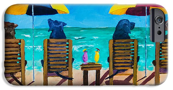 Black Dog iPhone Cases - Beach Dogs iPhone Case by Roger Wedegis