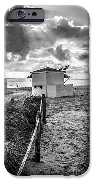 First Star iPhone Cases - Beach Entrance to Old Glory - Black and White iPhone Case by Ian Monk